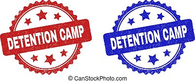 Rosette DETENTION CAMP seal stamps. Flat vector textured seal stamps with DETENTION CAMP text inside rosette with stars, in blue and red color variants. Rubber imitations with distress style.