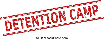 Red DETENTION CAMP seal on a white background. Flat vector scratched seal with DETENTION CAMP title inside double parallel lines. Watermark with grunged surface.