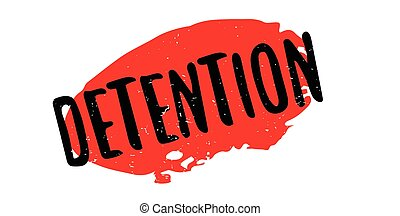 Detention rubber stamp. Grunge design with dust scratches. Effects can be easily removed for a clean, crisp look. Color is easily changed.