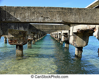 Deterating pier - Photo from the underside of a pier that is...