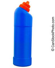 Detergent blue bottle against white background