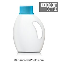 Detergent Bottle Vector. Realistic Mock Up. White Clean Plastic Bottle For Household Chemicals. Packaging Design Isolated Illustration