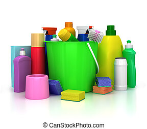 detergent bottles and chemical cleaning supplies isolated on...