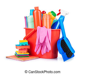 detergent bottles, brushes, gloves and sponges in bucket ...