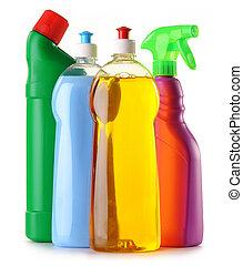 Detergent bottles isolated on white