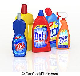 detergent bottles - set of detergent bottles with labels....