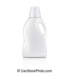 detergent., branca, lavanderia, garrafa, líquido