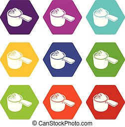 Detergent dose icons 9 set coloful isolated on white for web