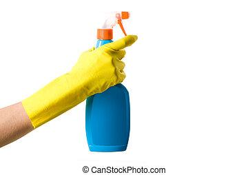 Detergent - Portrait of female hand holding bottle of...