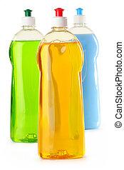 detergente, botellas, aislado, blanco