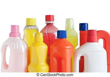 detergente, botellas, plástico