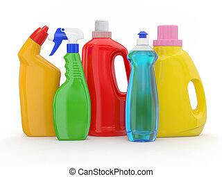 detergente, diferente, botellas, fondo blanco