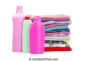 detergente, diferente, puro, montón, ropa