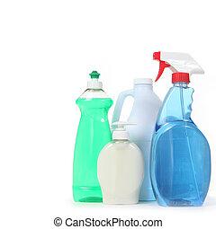 detergente, pulverizador, sabonetes, janela, branquear