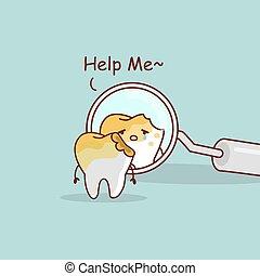 deteriorado, dente, odontólogo, espelho