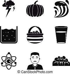 Deterioration in the weather icons set, simple style