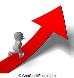 determinación, arriba, hombre, actuación, ansioso, corriente, flecha