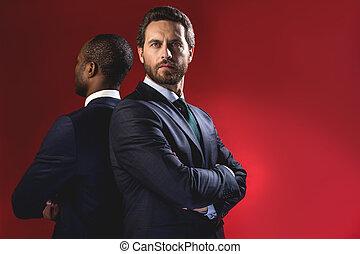 determinado, homens negócios, garantia, expressar