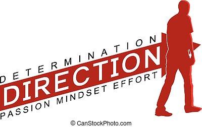 A venctor illustration about determination, direction, mindset, effort, passion with man walking.