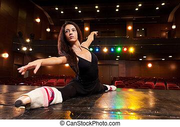Determination - Beautiful brunette dancer, dressed in black...