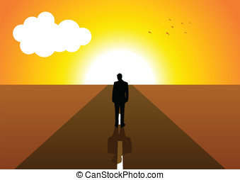 Determination - Illustration of a male figure on a long road...