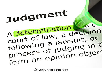 'Determination' highlighted in green, under the heading 'Judgment'