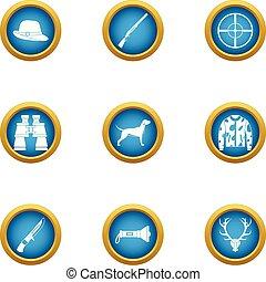 Determination icons set, flat style