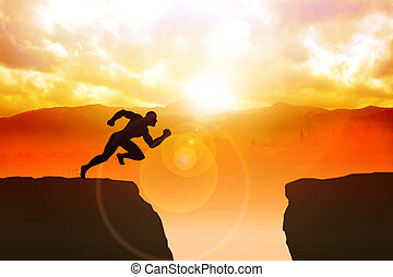 Silhouette illustration of a male figure sprinting to jump the ravine