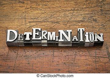 determination word in metal type