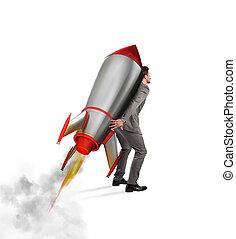 determinazione, e, potere, uomo affari, quello, prese, uno, razzo, isolato, bianco, fondo