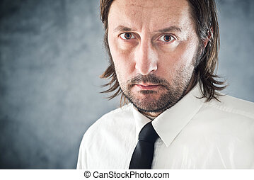 Determined Businessman portrait with copy space