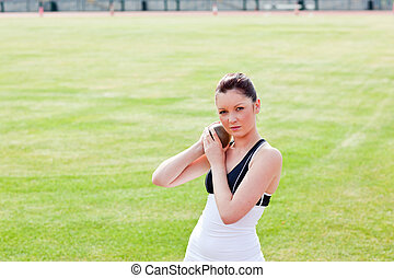 Determined female athlete