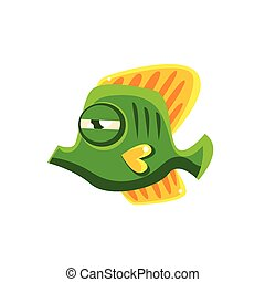 Determined Green Fantastic Aquarium Tropical Butterfly Fish Cartoon Character
