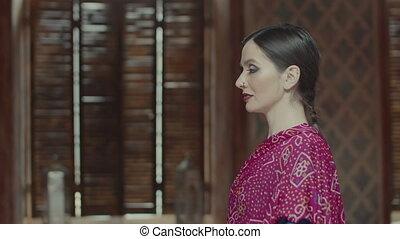 Determined self confident woman casting gaze