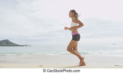 Determined Woman Jogging On Shore During Summer