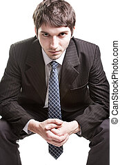 Determined young businessman over white - Determined young...