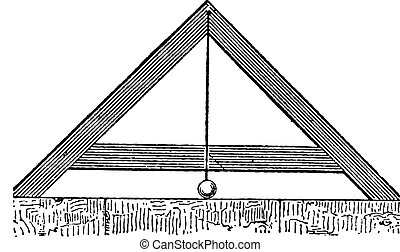 Determining the Level of the Legs of a Triangular Frame Using a Pendulum, vintage engraving