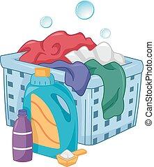 detersivo, bolle, hamper lavanderia