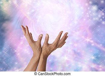 detetar, mágico, cura, energia