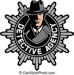 detetive, agência, privado, etiqueta