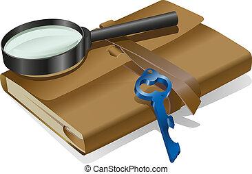 detetive, caderno, tecla