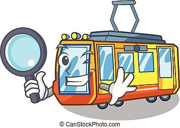 detetive, caricatura, trem, elétrico, isolado