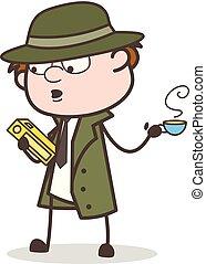 detetive, chá, ilustração, caricatura, quentes, vetorial, livro lei