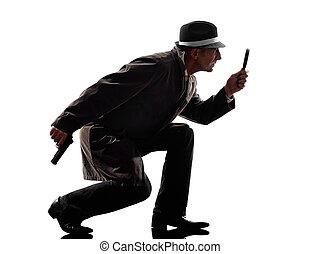 detetive, criminal, silueta, homem, investigations