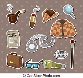 detetive, equipamento, adesivos, caricatura