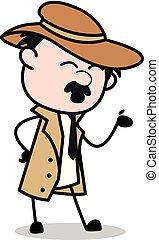 detetive, estilo, polícia, -, agente, falando, vetorial, ...