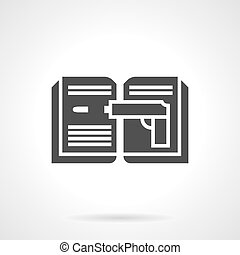 detetive, estilo, vetorial, glyph, livro, ícone