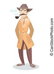 detetive, fumar, pipe.