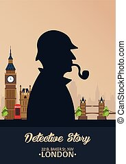 detetive, holmes., illustration., grande, padeiro, ilustração, rua, 221b., sherlock, ban., london.