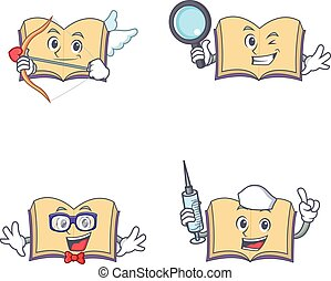 detetive, jogo, personagem, cupid, geek, livro, enfermeira, abertos
